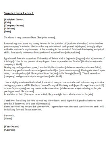 undergraduate cover letter