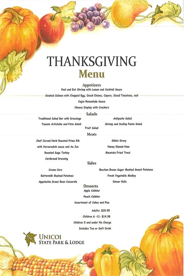 Unicoi Thanksgiving Dinner Menu