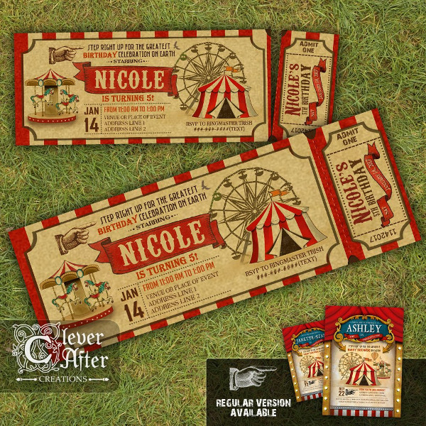 unique carnival invitation ticket example