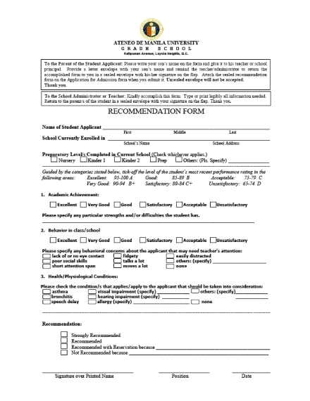 university recommendation form