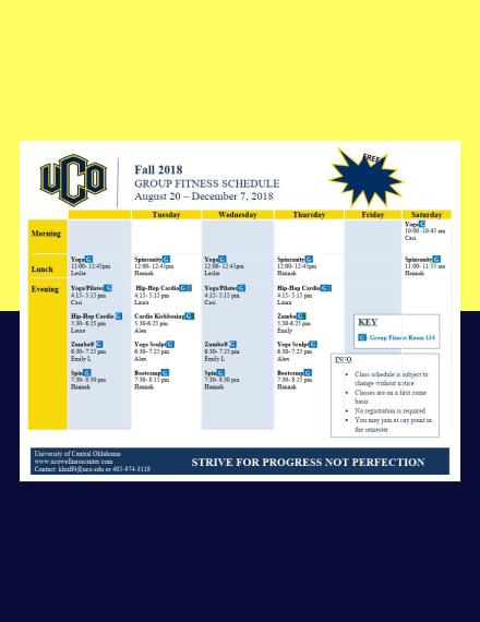 university wellness center workout schedule