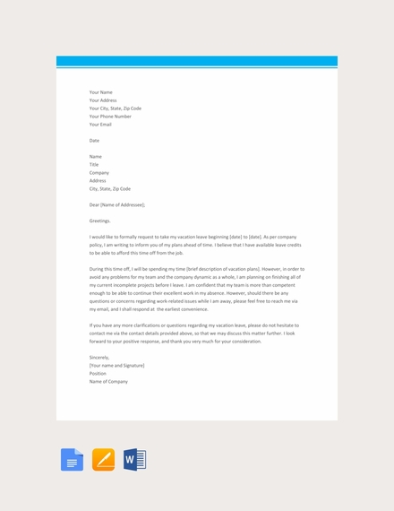 vacation leave letter