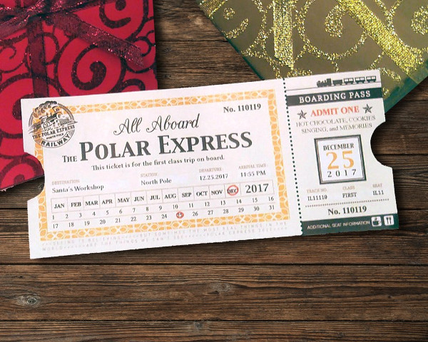 This is a photo of Printable Polar Express Ticket regarding front back