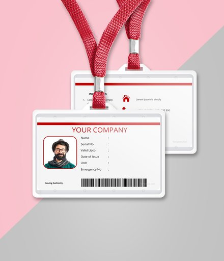 vertical blank id card template mockup