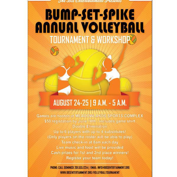 vibrant volleyball sports invitation