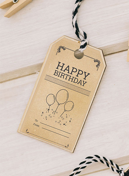Vintage Birthday Tag Template