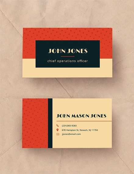 vintage business card example