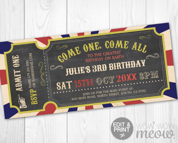 vintage carnival invitation ticket example