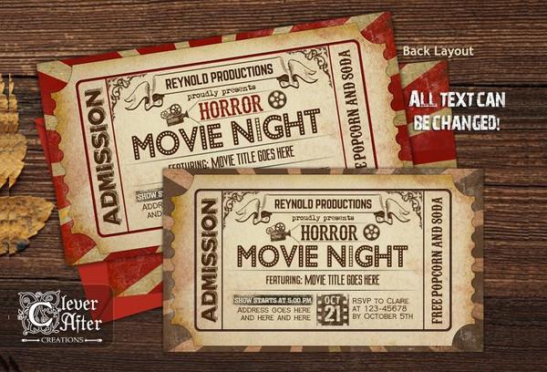 vintage horror cinema ticket example1