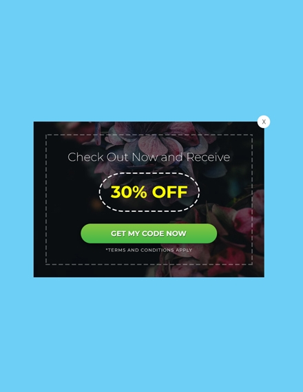 website coupon pop up
