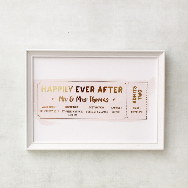 wedding anniversary gift ticket example