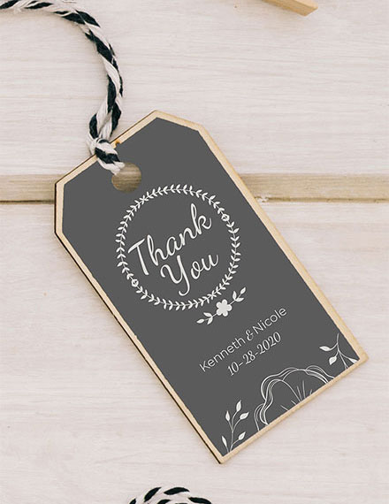 Wedding Favor Thank You Tag Template