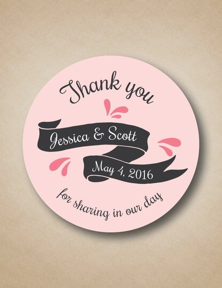 wedding label sticker sample