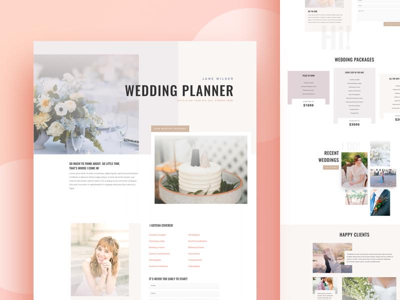 Wedding Planner Website Template Design Example