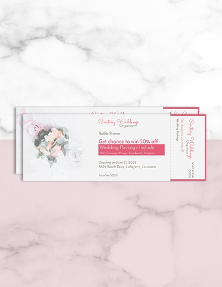 wedding raffle ticket design