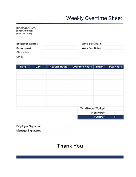 weekly overtime report sheet template