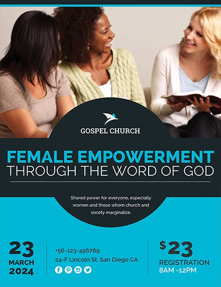 women church flyer template example