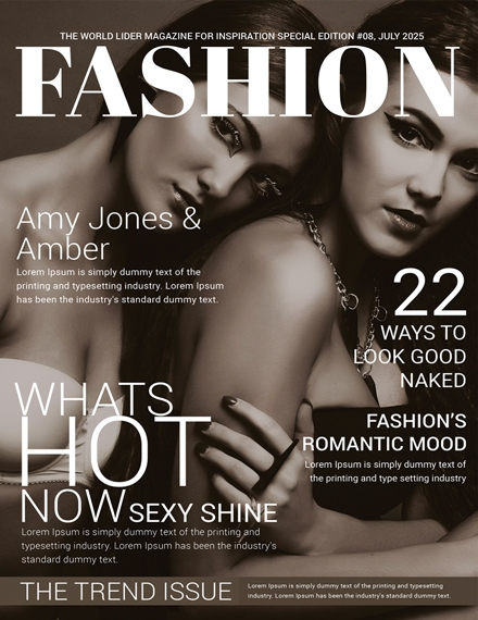 women fashion magazine cover template