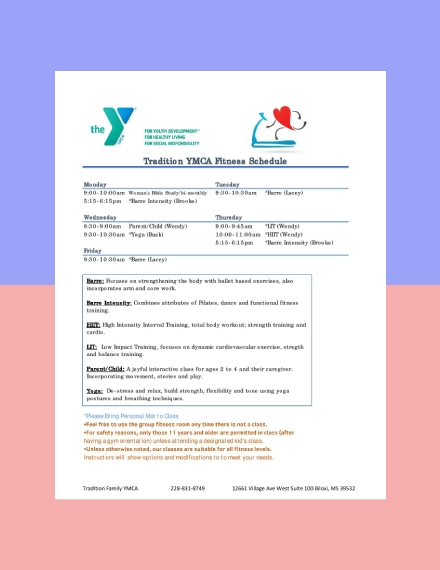 YMCA Fitness Workout Schedule