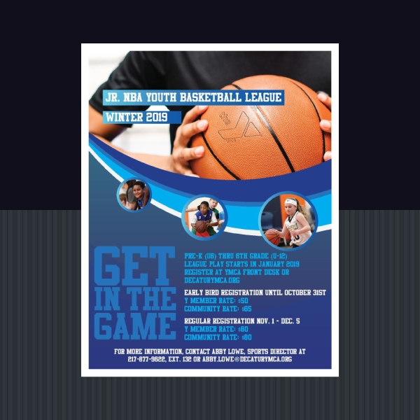 ymca youth basketball sports flyer