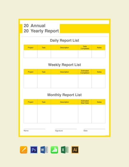 yearly report card template