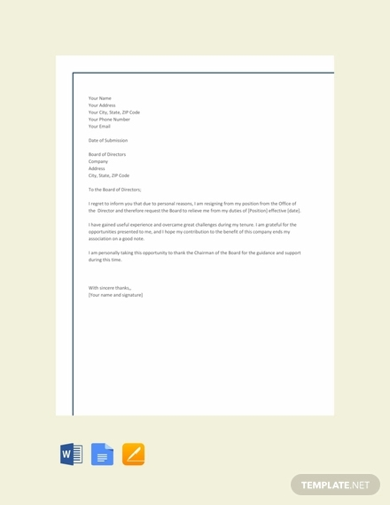 18+ Resignation Letters Examples & Templates in Word, Pages ...
