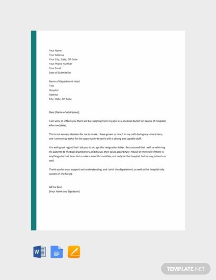 free doctor resignation