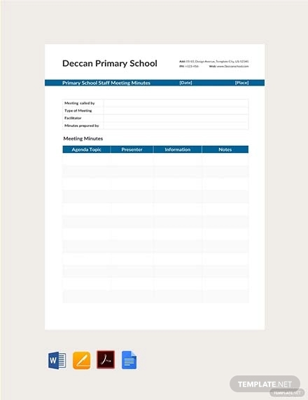 free primary school staff meeting