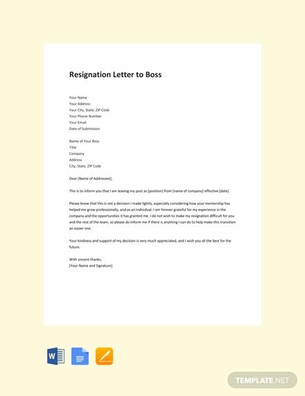free resignation to boss