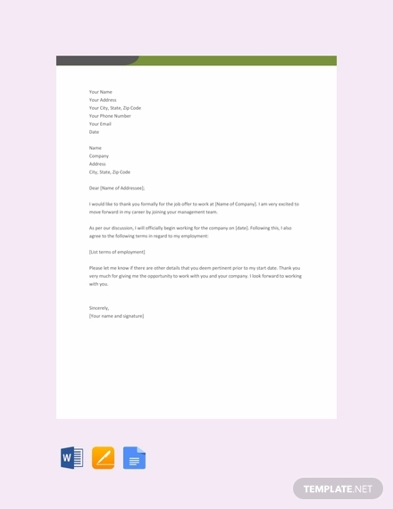 free thank you letter for job offer