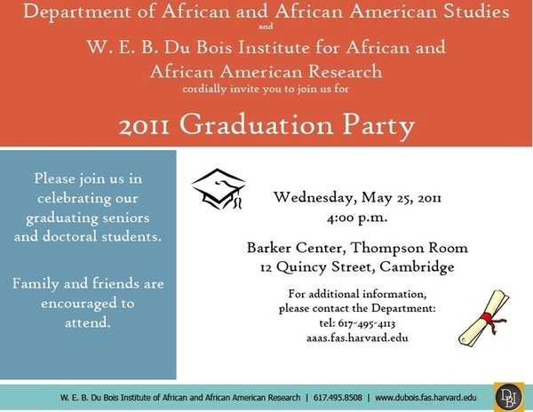 aaas and dubois institute graduation party invitation