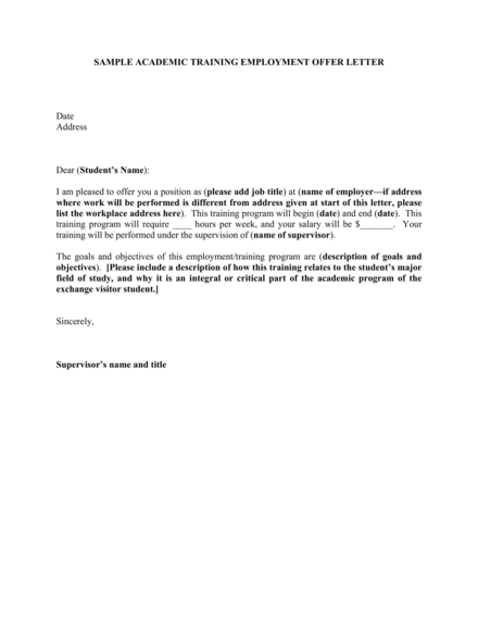 Academic Training Employment Offer Letter Example