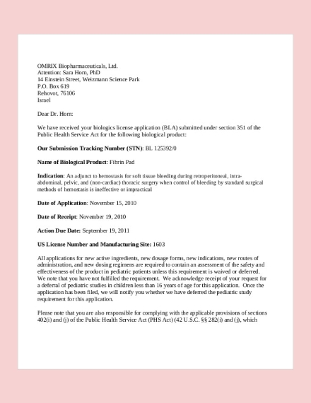 acknowledgement license application letter