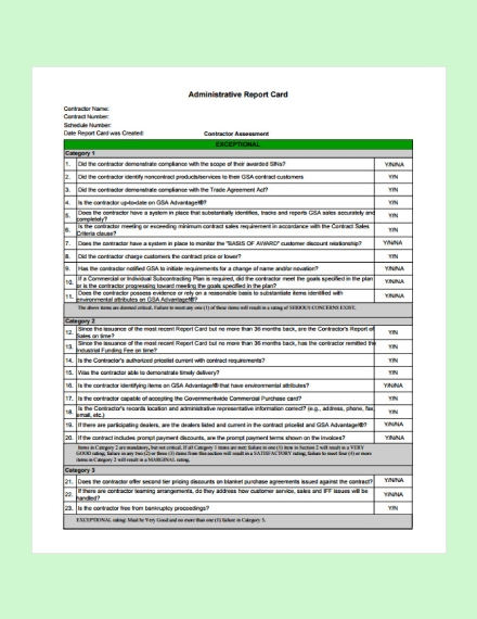 administrative report card