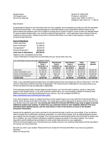 aid offer letter example