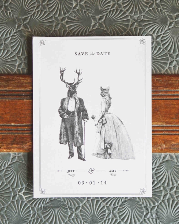 Animal Caricature Save the Date