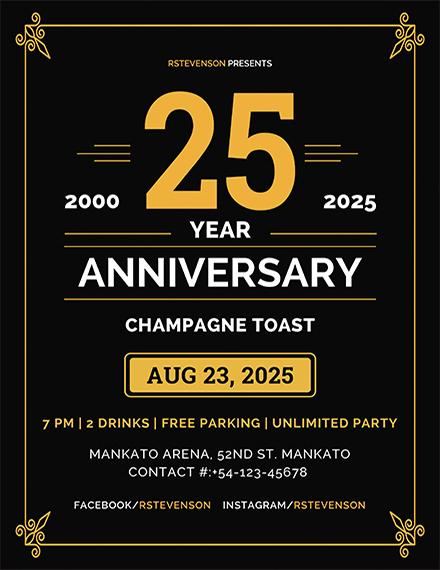 anniversary champagne toast invitation