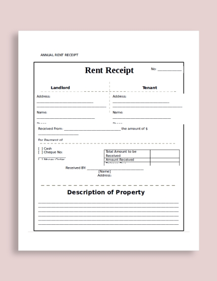 annual rent receipt