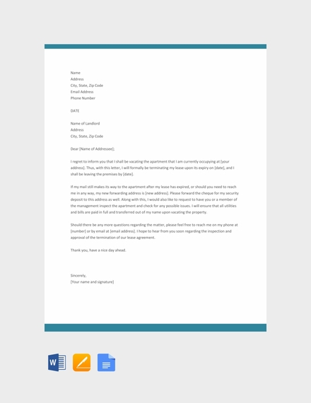 Apartment Lease Termination Letter Template