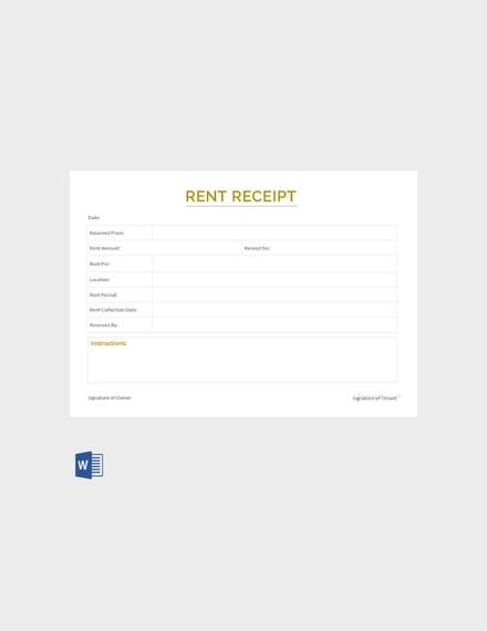 apartment rent receipt template