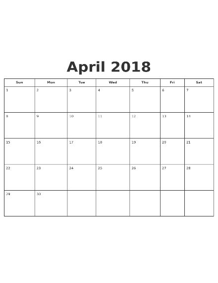 april 2018 monthly planner
