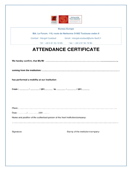 attendance certificate form