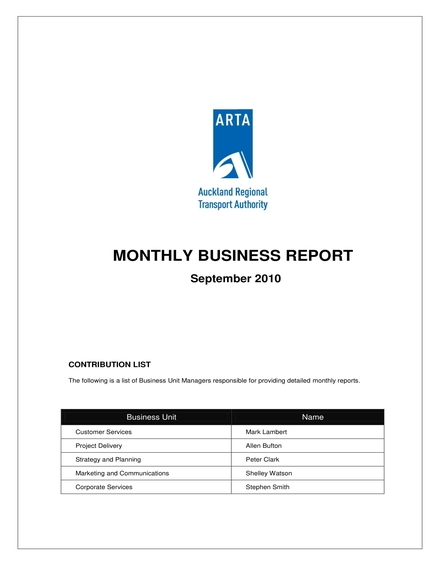 auckland regional transport authority monthly business report example