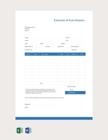 auto repair estimate sheet template