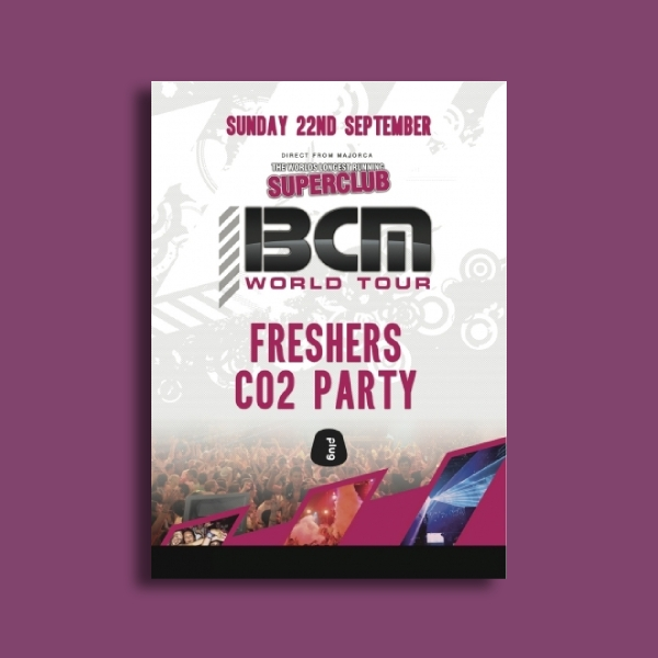bcm world tour freshers co2 party flyer