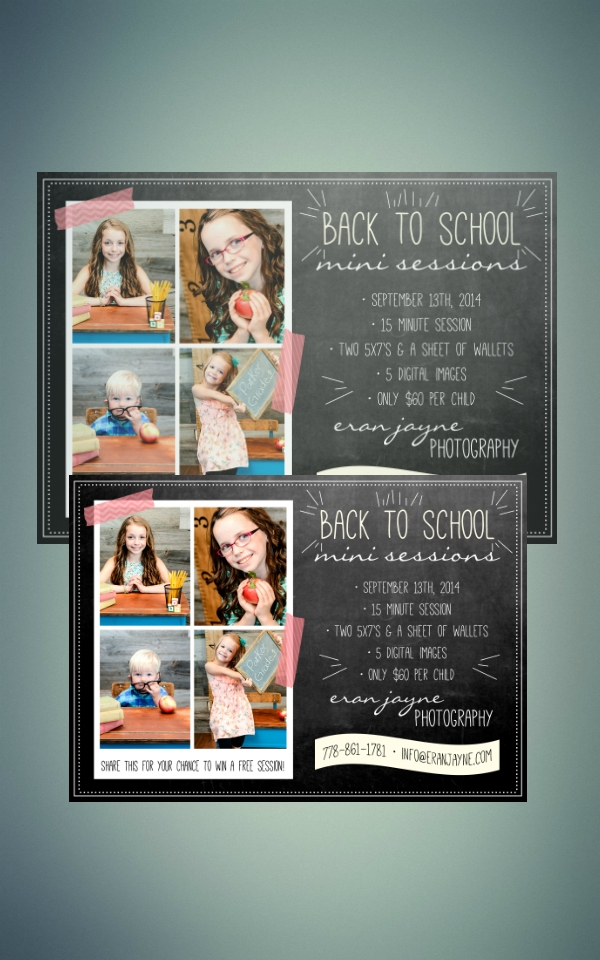 back to school mini session photography flyer
