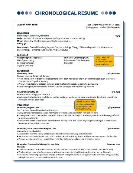 basic chronological resume
