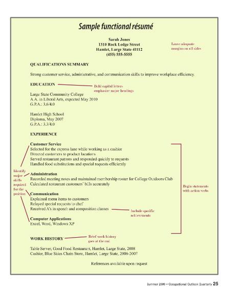 basic functional resume