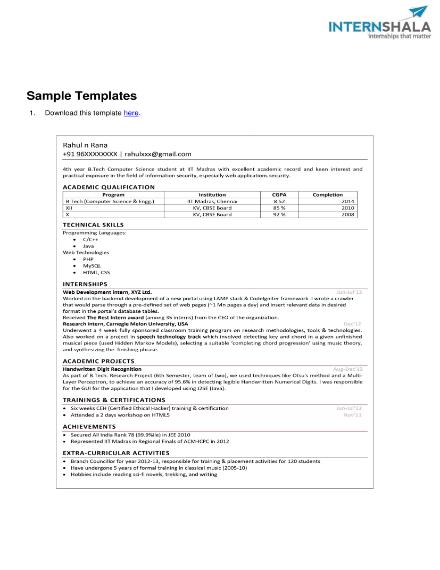 basic intership resume