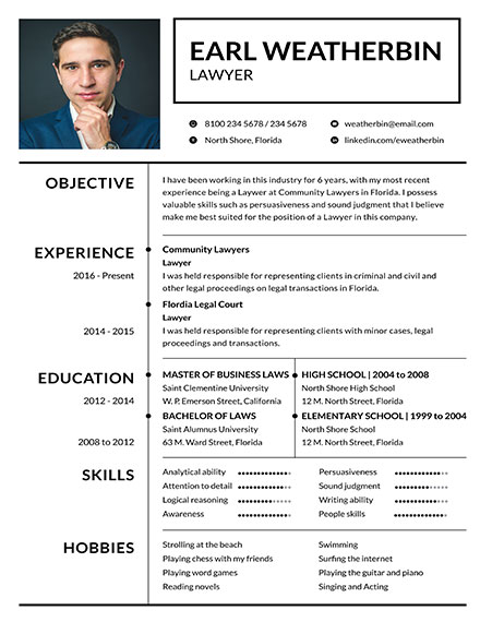 Basic Lawyer Resume